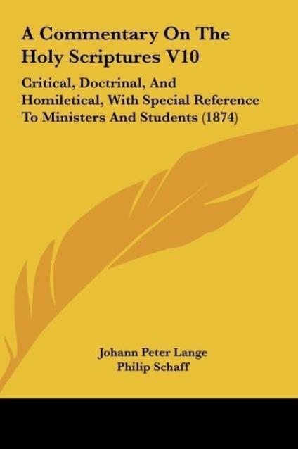 A Commentary On The Holy Scriptures V10 als Buch von Johann Peter Lange - Johann Peter Lange