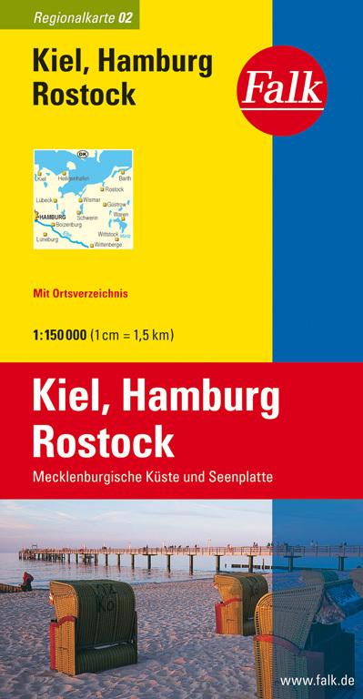 Falk Regionalkarte 02. Kiel, Hamburg, Rostock. ...