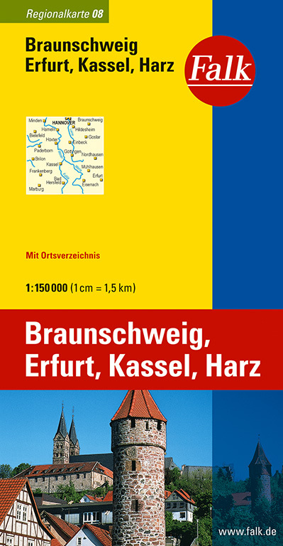 Falk Regionalkarte 08. Braunschweig, Erfurt, Ka...