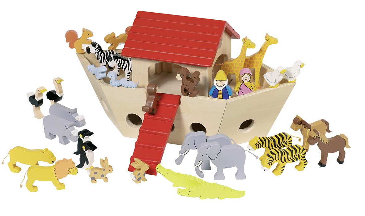 Goki 51846 - Arche Noah, Holz inkl. 30 Tiere, N...