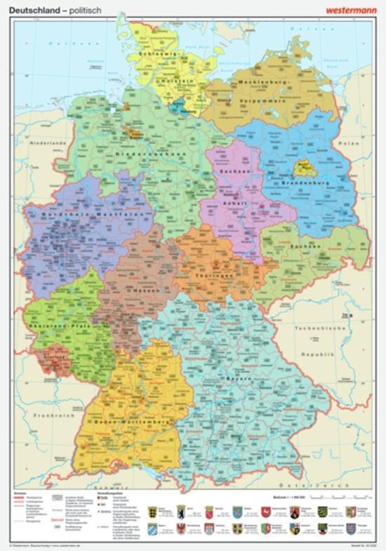Posterkarten Geographie: Deutschland: politisch...