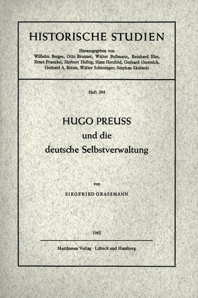 Hugo Preuss und die deutsche Selbstverwaltung a...