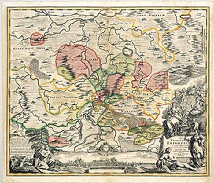 Historische Karte: Stadtgebiet von Erfurt und i...