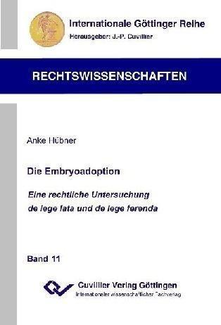 Die Embryoadoption als Buch von Anke Hübner