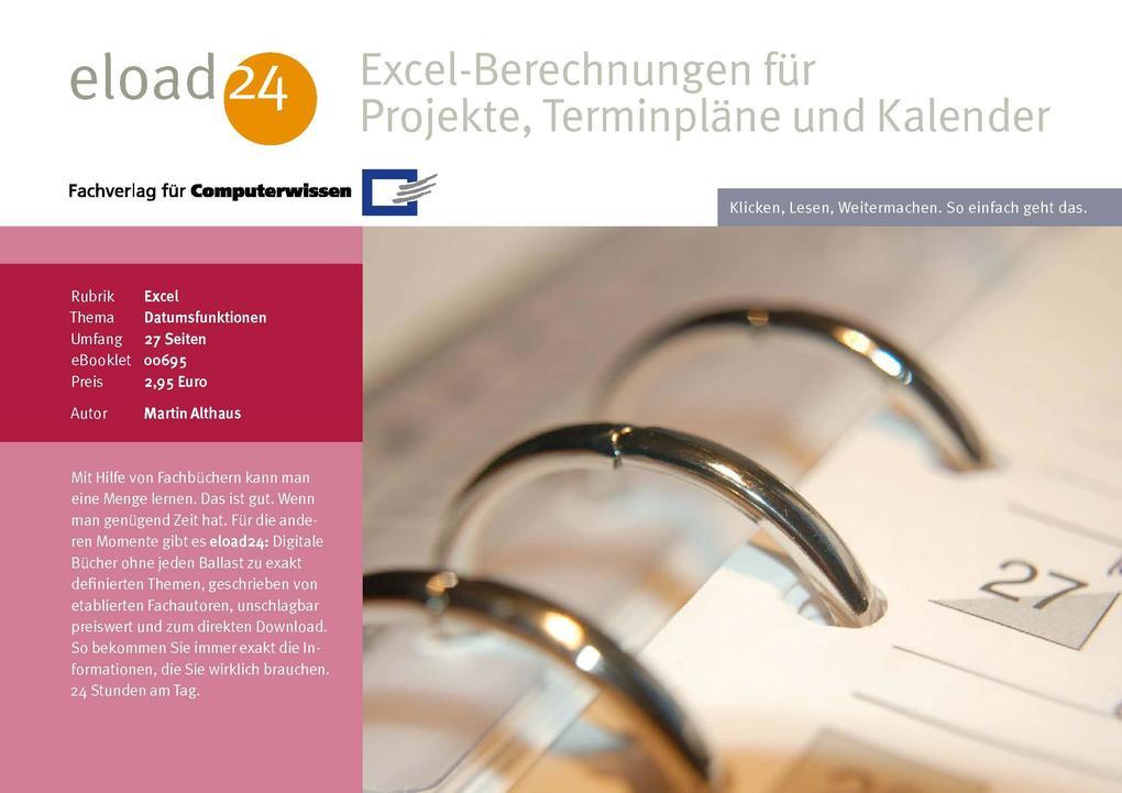 Excel-Berechnungen für Projekte, Terminpläne un...