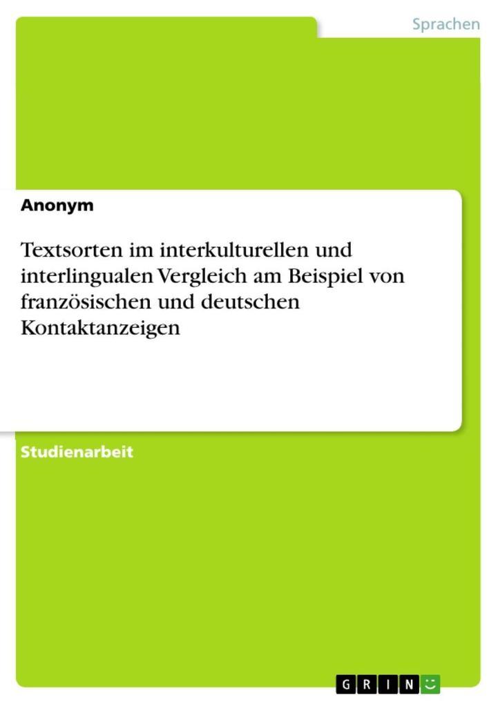 Textsorten im interkulturellen und interlingual...