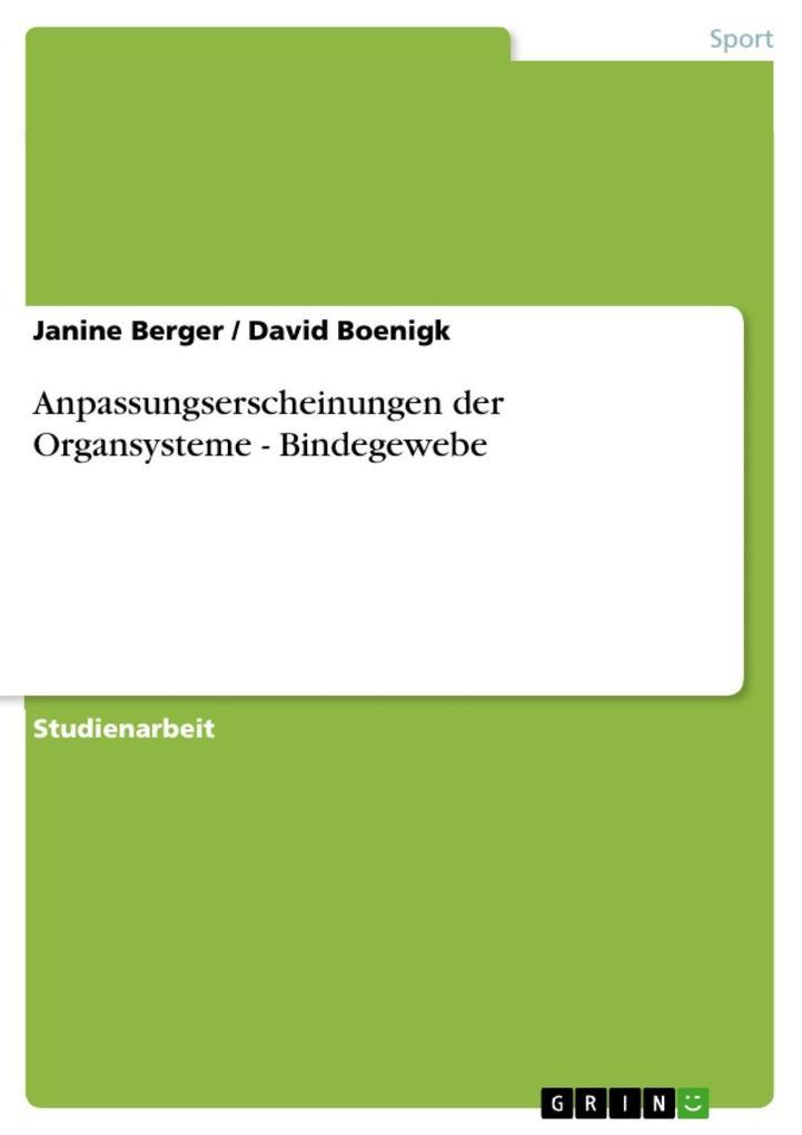 Anpassungserscheinungen der Organsysteme - Bind...