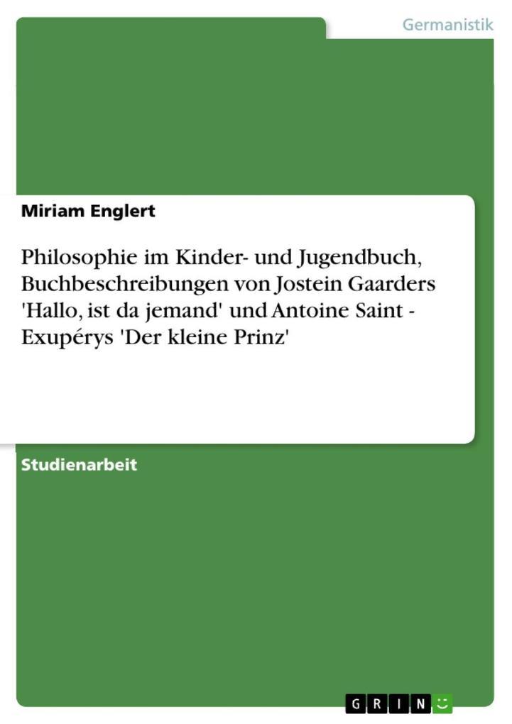 Philosophie im Kinder- und Jugendbuch, Buchbesc...