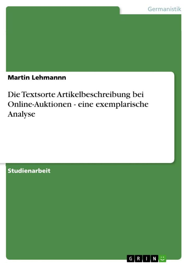 Die Textsorte Artikelbeschreibung bei Online-Au...