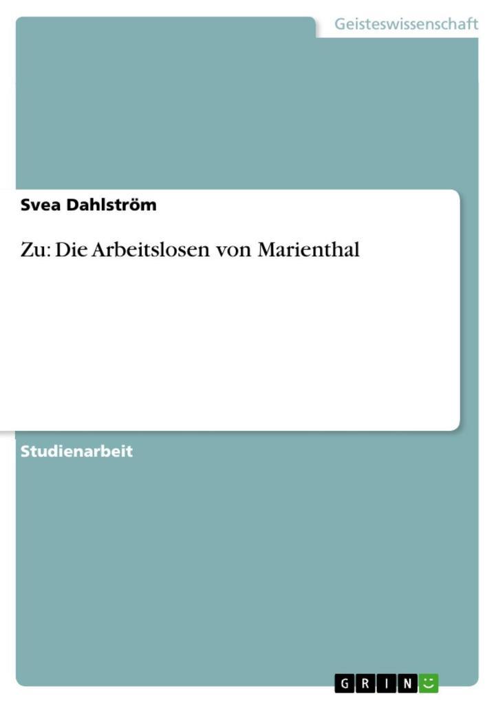 Zu: Die Arbeitslosen von Marienthal als eBook D...