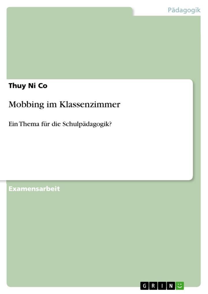 Mobbing im Klassenzimmer als eBook Download von...