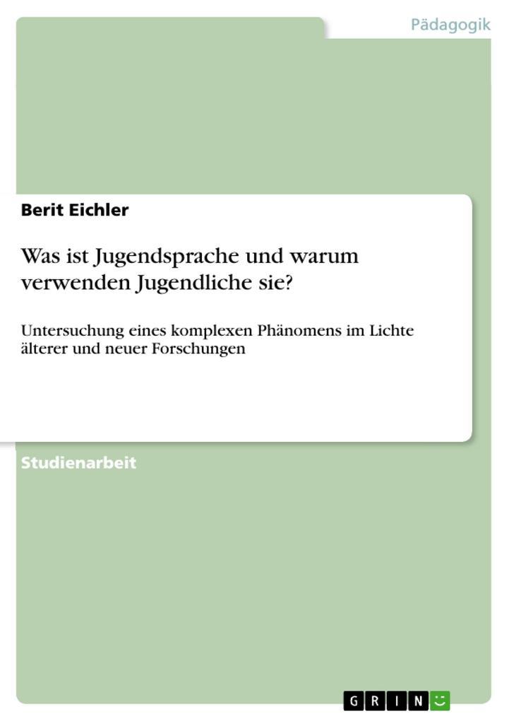 Jugendsprache als eBook Download von Berit Eichler