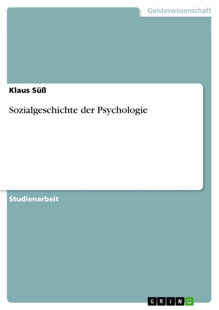 Sozialgeschichte der Psychologie als eBook Down...