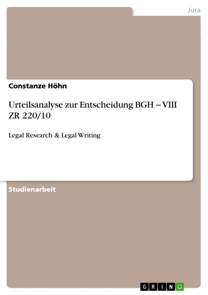Urteilsanalyse zur Entscheidung BGH ´ VIII ZR 2...