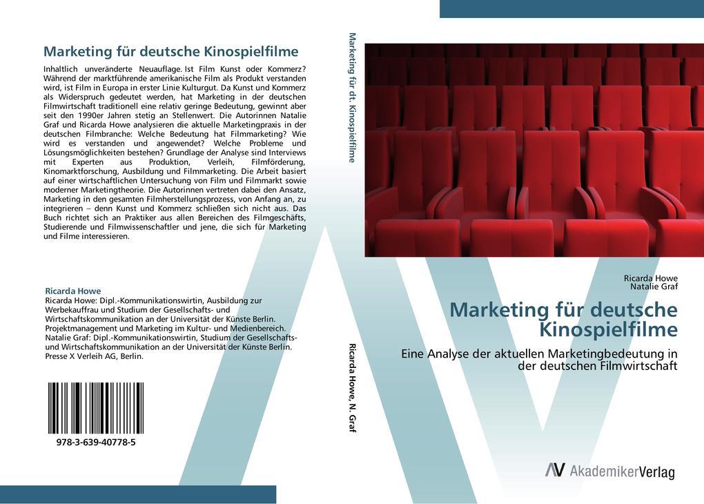 9783639407785 - Ricarda Howe, Natalie Graf: Marketing für deutsche Kinospielfilme als Buch von Ricarda Howe, Natalie Graf - Buch