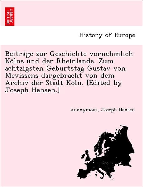 Beitra´ge zur Geschichte vornehmlich Ko´lns und...