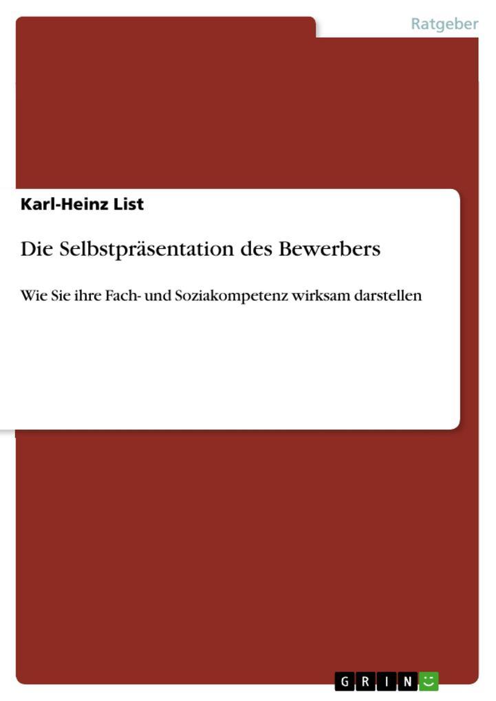 Die Selbstpräsentation des Bewerbers als eBook ...