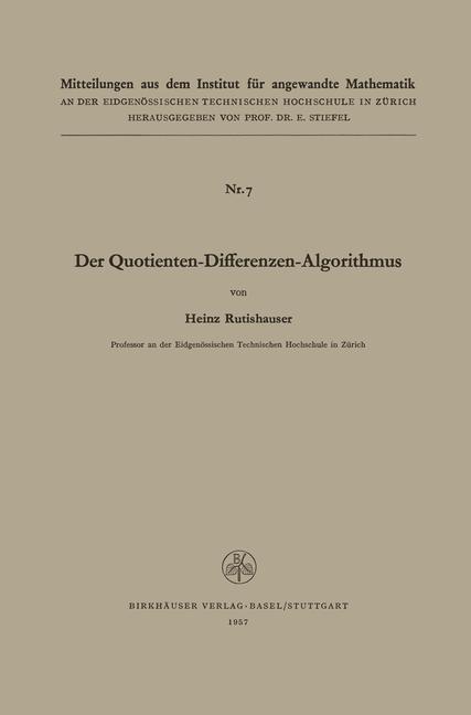 Der Quotienten-Differenzen-Algorithmus als Buch...