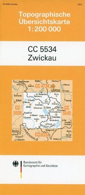 Topographische Übersichtskarte CC5534 Zwickau 1...