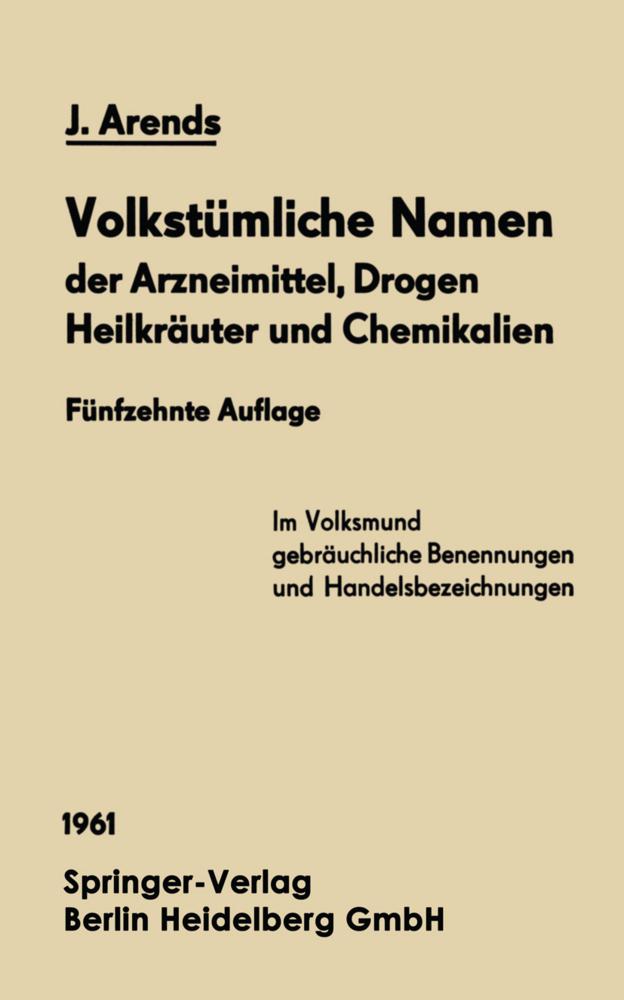 Volkstümliche Namen der Arzneimittel, Drogen He...