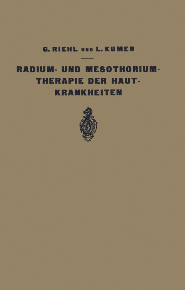 Die Radium- und Mesothoriumtherapie der Hautkra...