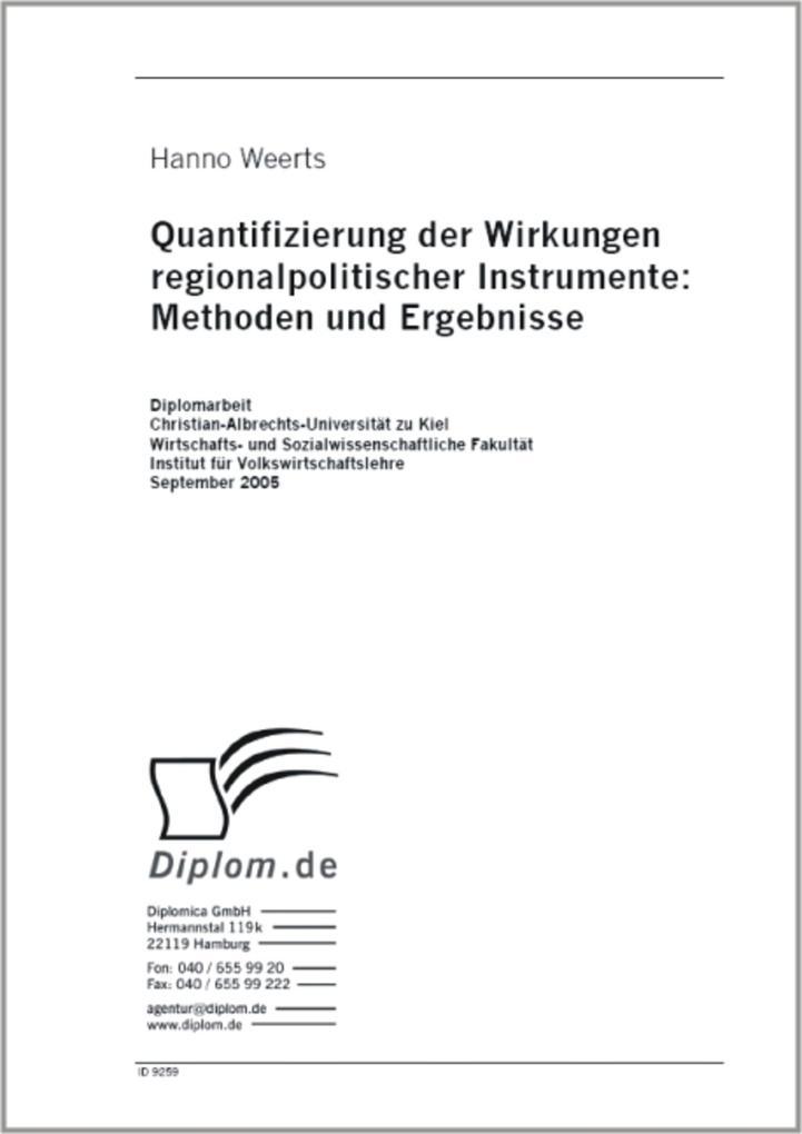 Quantifizierung der Wirkungen regionalpolitisch...