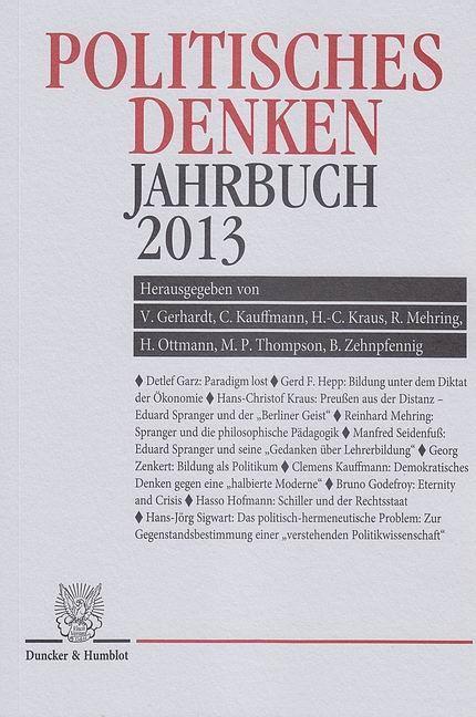 Politisches Denken. Jahrbuch 2013 als Buch von