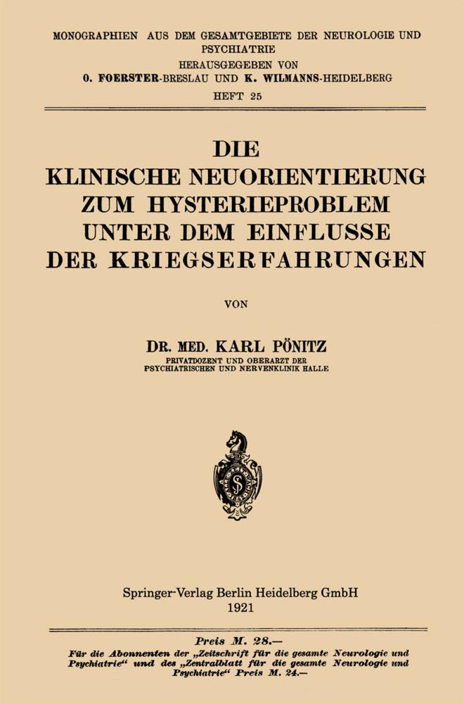 Die Klinische Neuorientierung zum Hysterieprobl...