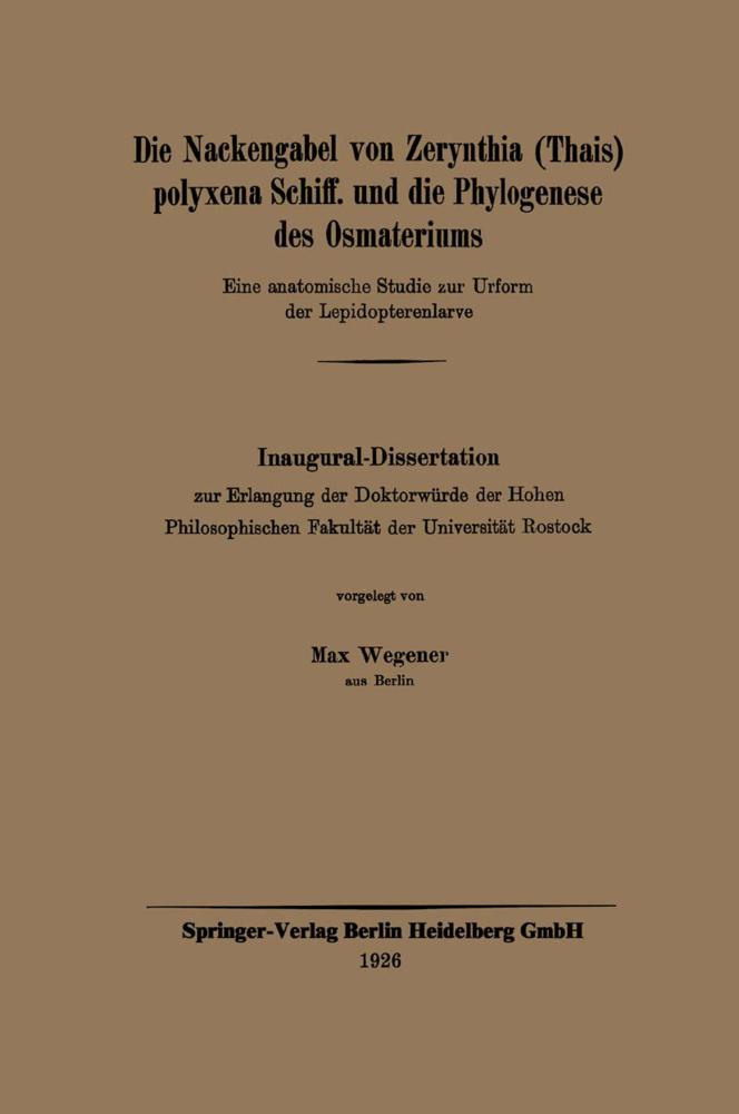 Die Nackengabel von Zerynthia (Thais) polyxena ...