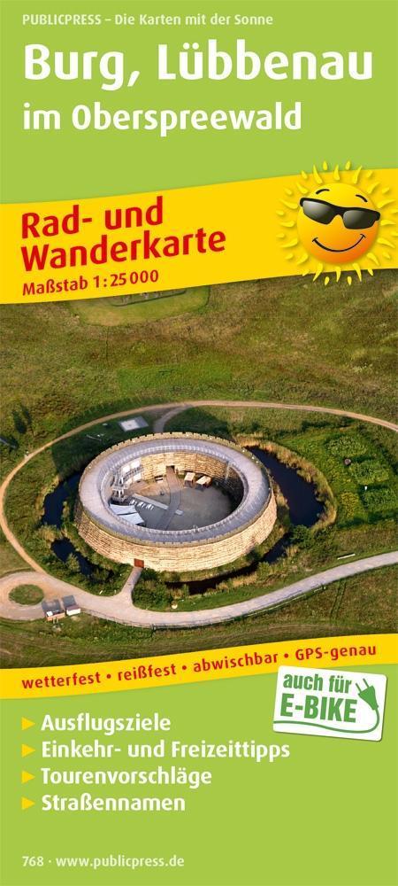 Rad- und Wanderkarte Burg, Lübbenau im Oberspre...