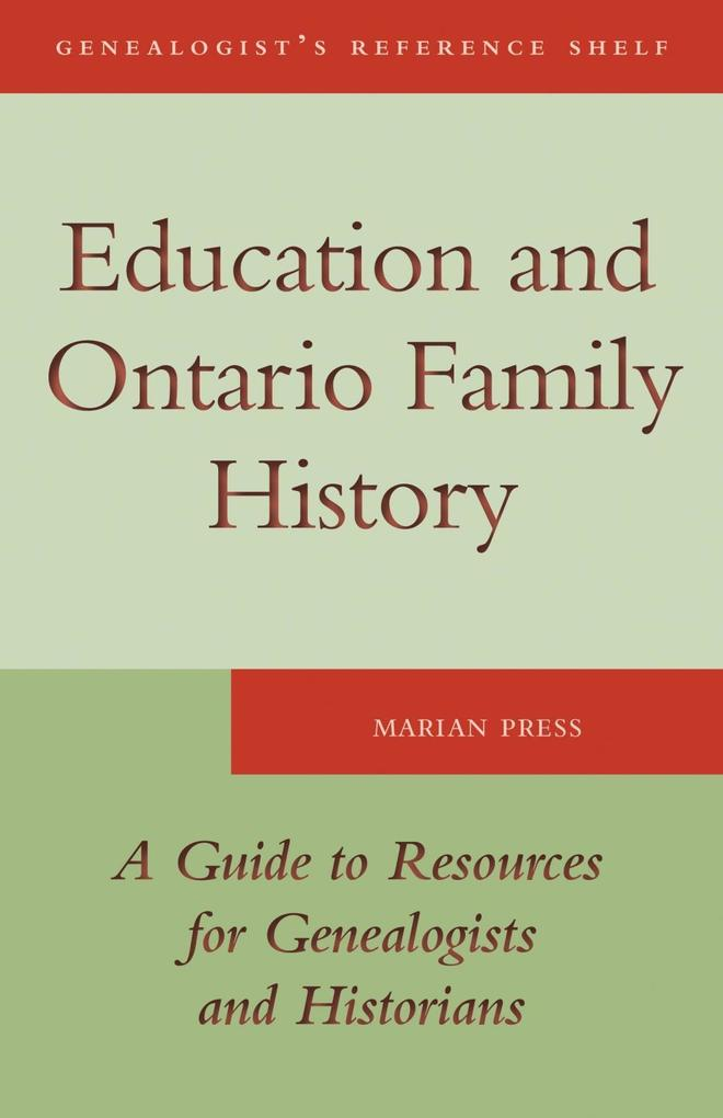 Education and Ontario Family History als eBook ...