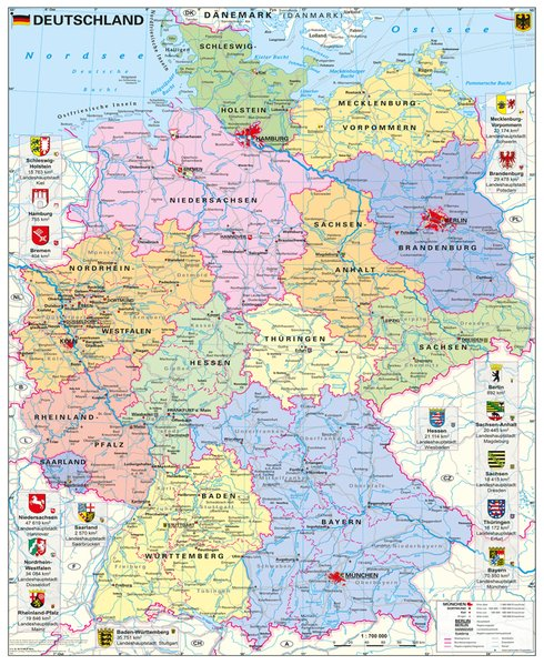 Deutschland politisch mit Wappen 1 : 700.000 al...