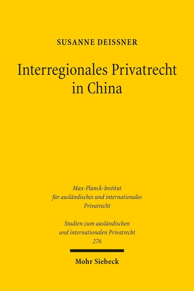 Interregionales Privatrecht in China als eBook ...