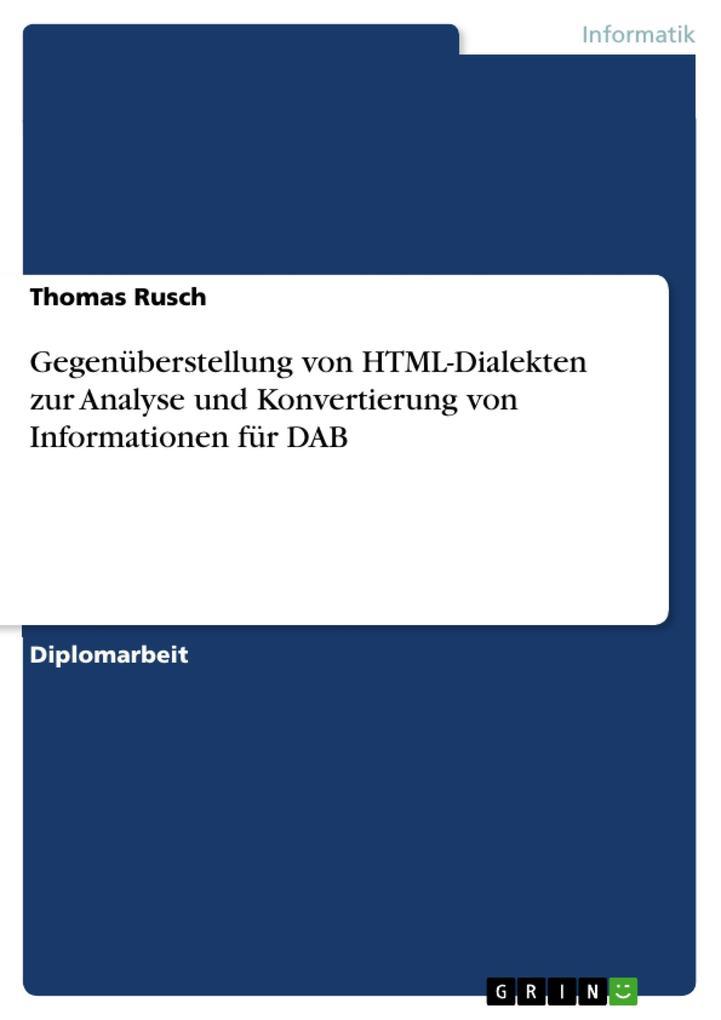Gegenüberstellung von HTML-Dialekten zur Analys...