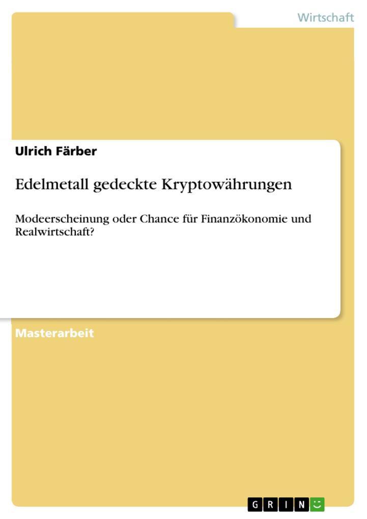 Edelmetall gedeckte Kryptowährungen als eBook D...