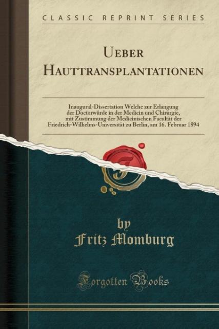 Ueber Hauttransplantationen als Taschenbuch von...