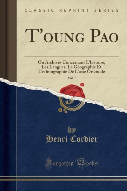 T´oung Pao, Vol. 7 als Taschenbuch von Henri Co...