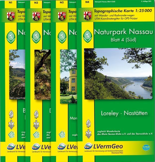 Naturpark Nassau Blatt 1 - 4 Wanderkarten Set 1...