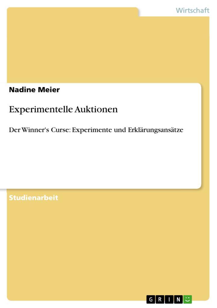 Experimentelle Auktionen als Buch von Nadine Meier