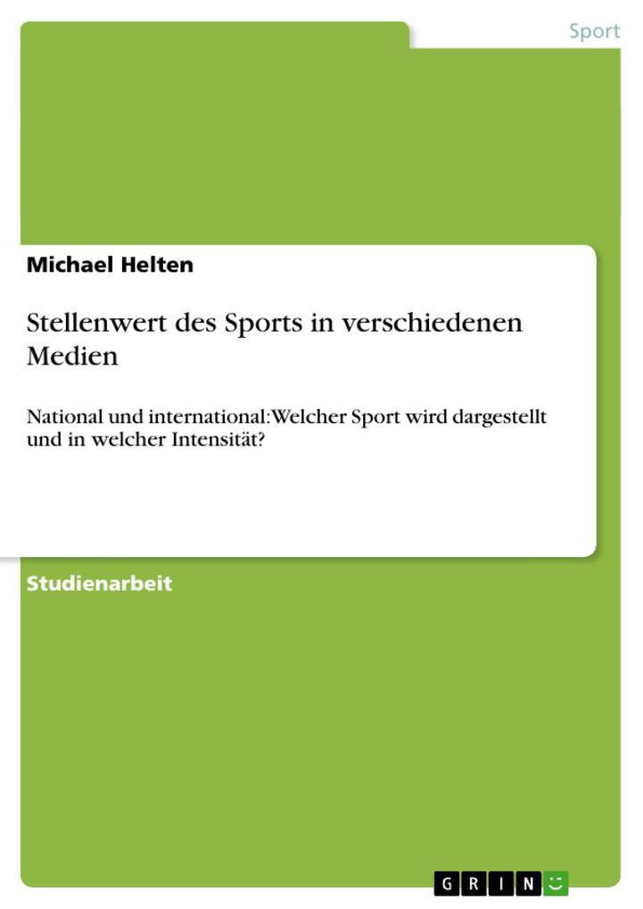 Stellenwert des Sports in verschiedenen Medien ...