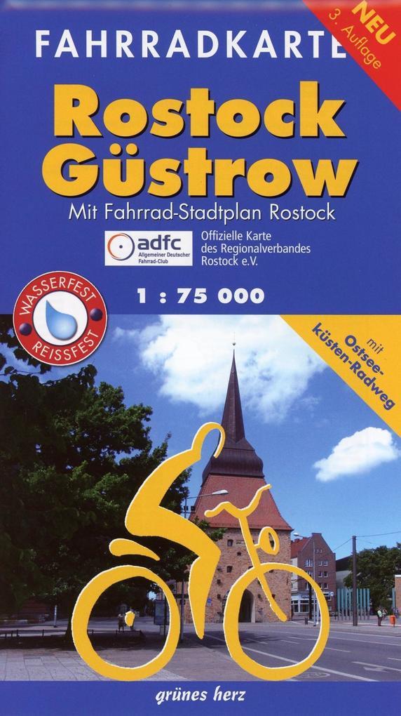 Fahrradkarte Rostock, Güstrow 1 : 75 000 als Bu...