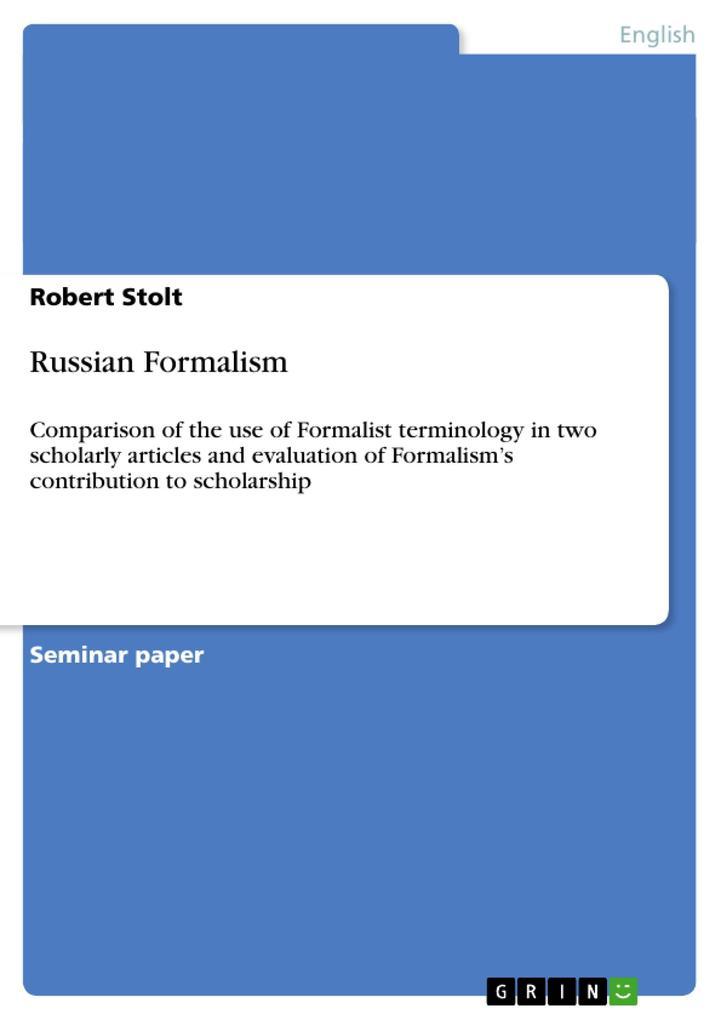 Russian Formalism als Buch von Robert Stolt