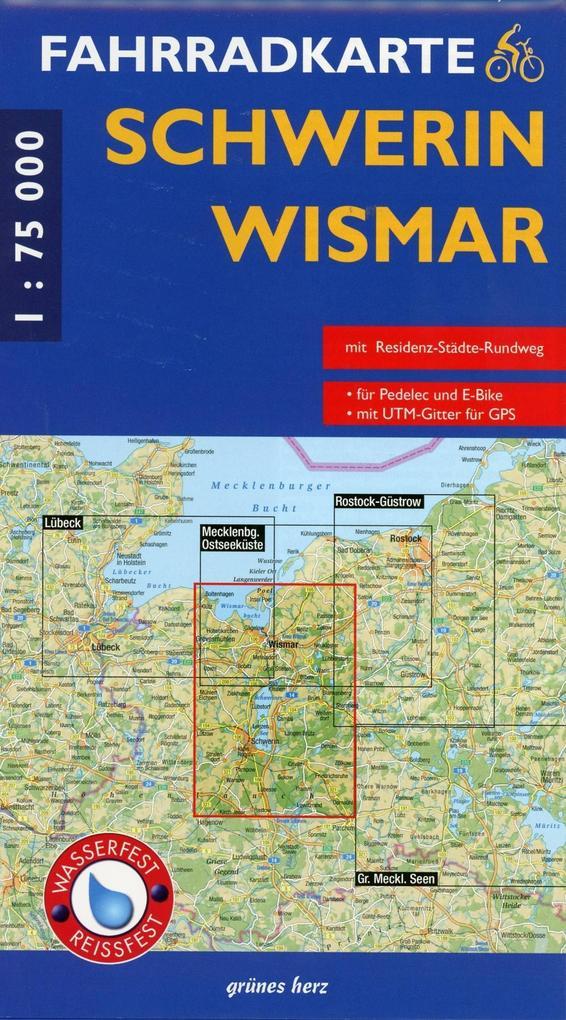 Fahrradkarte Schwerin - Wismar 1 : 75 000 Fahrr...