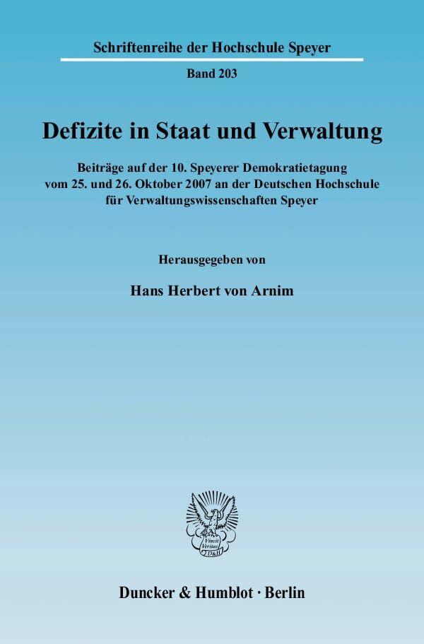 Defizite in Staat und Verwaltung als Buch von