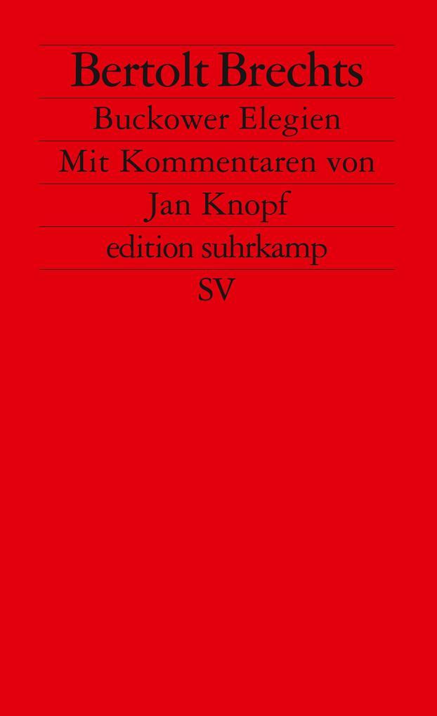 Brechts Bukower Elegien als Taschenbuch