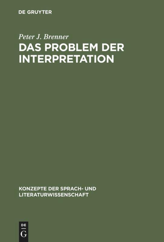 Das Problem der Interpretation als Buch