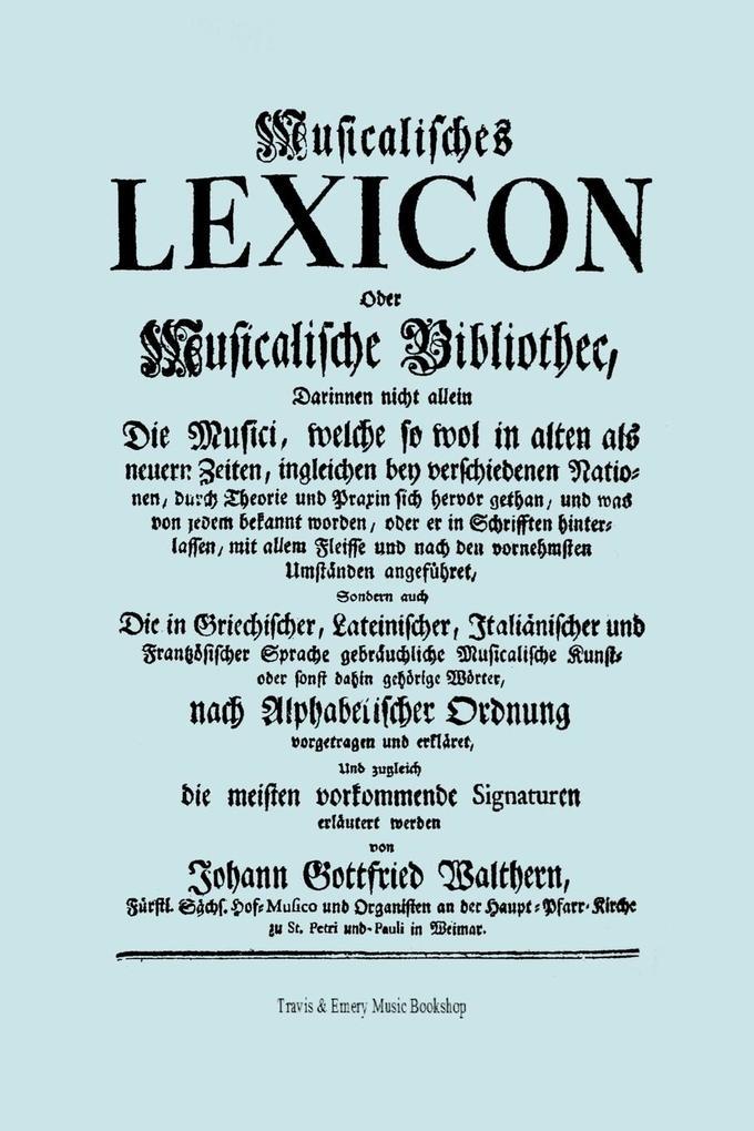 Musicalisches Lexicon ober Musicalische Bibliot...