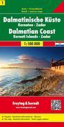 Freytag & Berndt Autokarte Dalmatinische Küste, Kornaten, Zadar. Dalmatinski obala. Dalmatische Kust