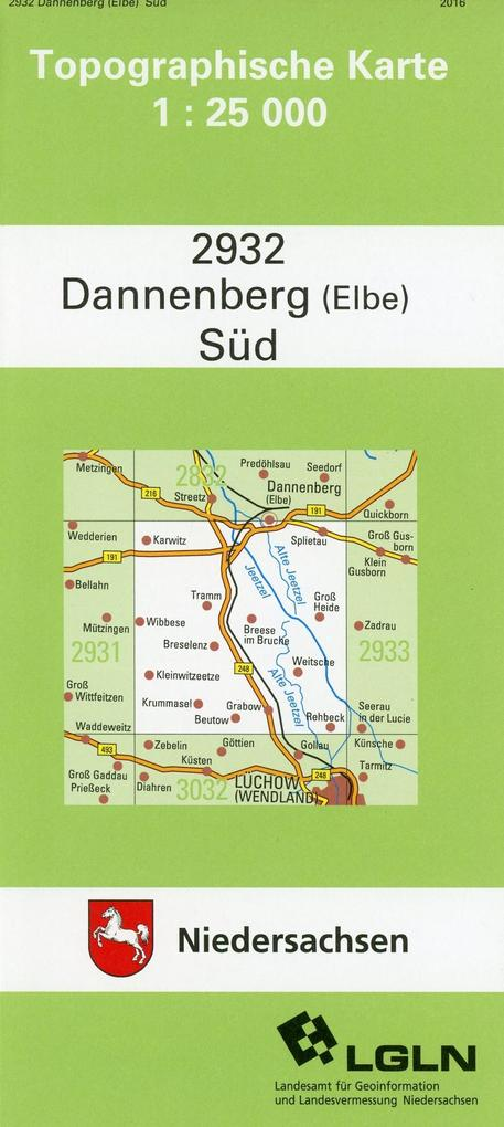 Dannenberg (Elbe) Süd 1 : 25 000. (TK 2932/N) als Buch