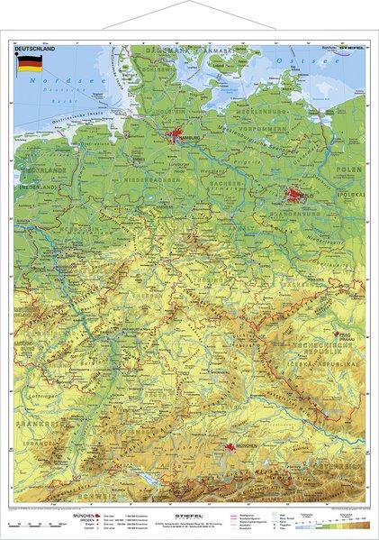 Deutschland, physisch 1 : 1 100 000. Wandkarte Kleinformat mit Metallstäben als Buch